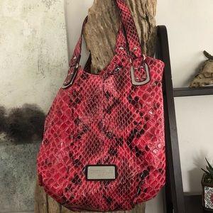WHBM Pink Black Snakeskin Purse